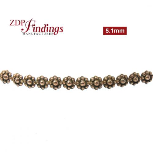 24 Inch (61cm) x 5.1mm Width Brass Flower Strip Gallery Decorative Ribbon