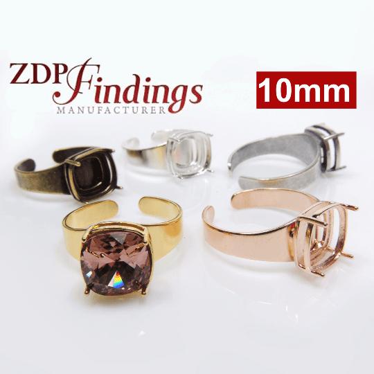 02ea1e36b 10mm Square Adjustable Ring Bezel For Setting Fit Swarovski 4470
