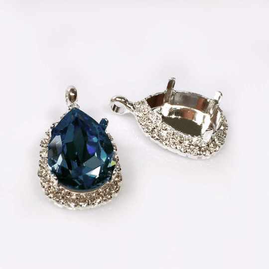 Sterling Silver Pendants made with 4320 Pear 10mm Swarovski® Crystals