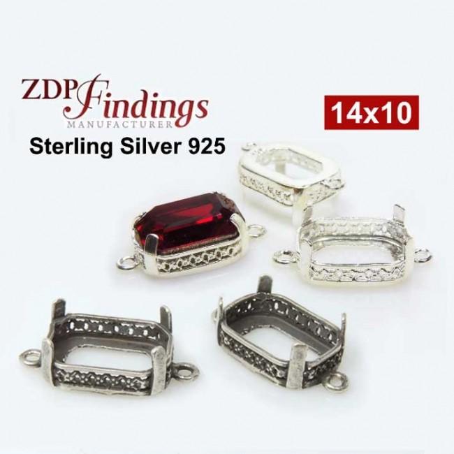 d49da1d5fd98 14x10mm Octagon Silver 925 Connector fit Swarovski 4610
