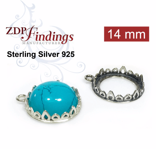 Sterling Silver Bail with Cups 50mm for 1122 Rivoli Crystals