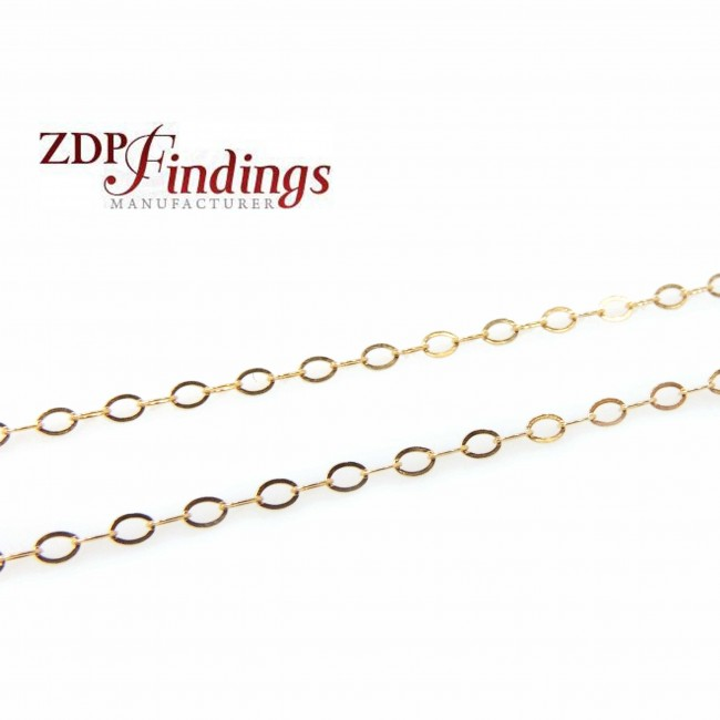 Price Per Foot 1 FT 1.6x2.1mm 14K Gold filled Cable Chain 27 Gauge Wire Thickness GF1318