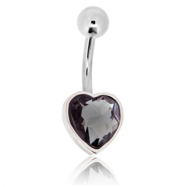 Stainless steel black diamond jewel heart belly banana 1 6x10x10x5mm