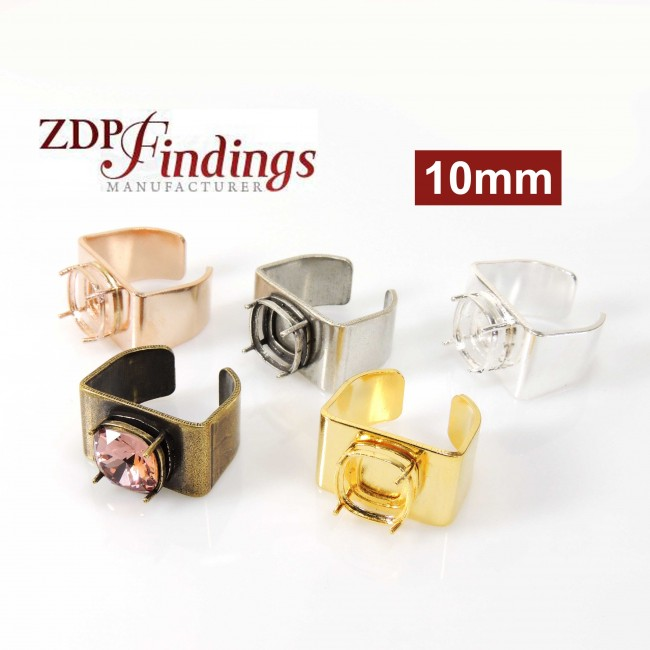 97882fa64 10mm Square Adjustable Ring Bezel Setting Fit Swarovski 4470