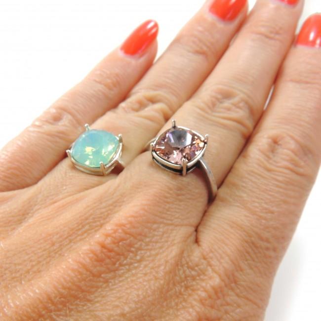 436ab200a 10mm Square Ring Base Shiny Sterling silver 925 - Swarovski Rings ...