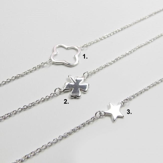 Silver Plated Link Chain Delicate Dainty Simple Minimalist Geometric Bracelet Length 7.5 Choose Your Design TTB2V