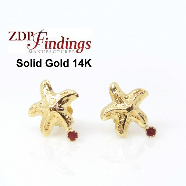 3c37373f7 14K Solid gold starfish with Ruby post earrings