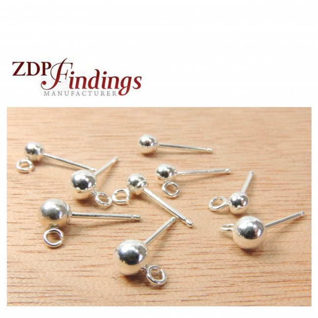 Sterling Silver Pearl Ball Round 4mm Stud Earrings V991