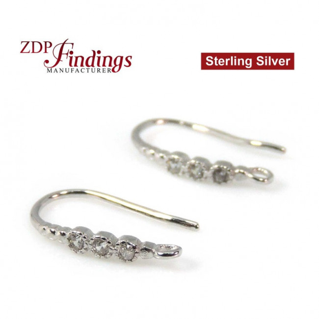 925 Sterling Silver Rhodium-plated CZ Leaf Dangle Charm Pendant