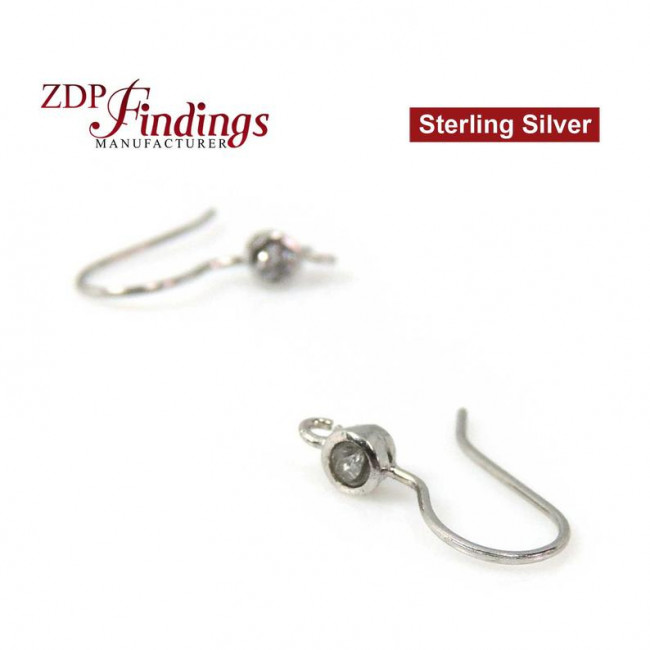 Sterling Silver Double Stud Posts Earrings for Gluing 4320 Crystals 10mm 14mm