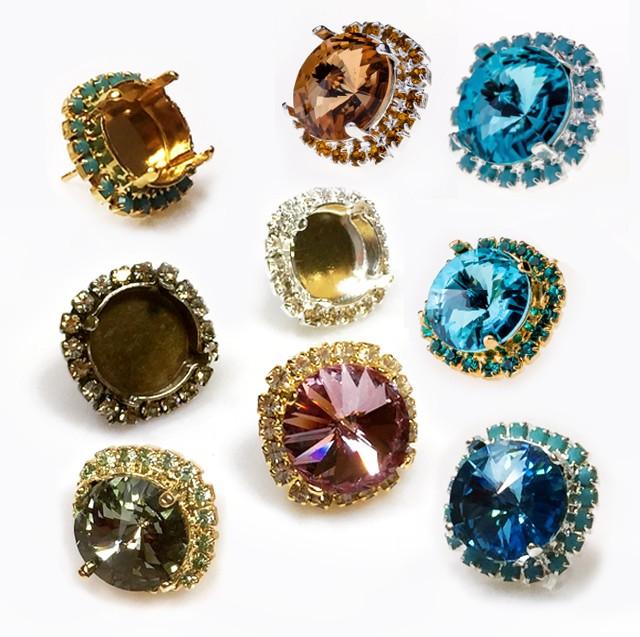 10 Gold Plated Rivoli Settings 15MM Fits 1122 Rivoli Stones 14MM
