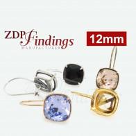 12mm Square Bezel Kidney wire Earrings For Swarovski 4470
