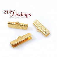 20x5mm Basket Textured Ends for flat cord, Matt gold plated