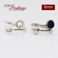 6mm Heart Adjustable 925 Silver Ring Base