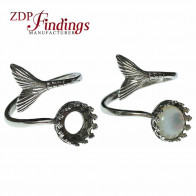 6mm Mermaid Tail Adjustable 925 Silver Ring Base