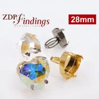 28mm Heart Adjustable Ring fit Swarovski 4827