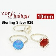 10mm Crown Bezel Sterling Silver 925 Ring