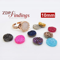 Round 10mm Natural Druzy Gemstone Flat Back