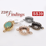 8mm Round Crown Bezel Setting Connector fit European Crystals SS39