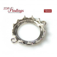 12mm Silver 925 Round Crown Bezel - Evolve collection Connector