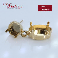 14x10mm ss39 Gold plated Swarovski Post Earrings