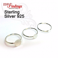 Sterling Silver 925 Ring Blank Base for Gluing