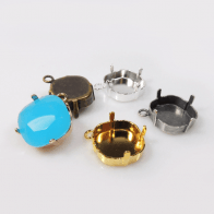 Square 14mm Pendant Bezel Cups fit Swarovski 4470