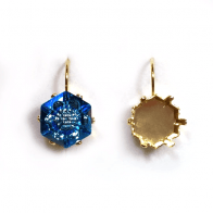 Hexagon 14mm Setting Earrings fit Swarovski 4681
