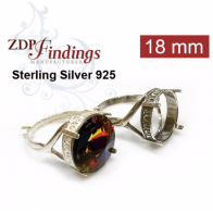 Round 18mm Setting Silver 925 Ring Fit Swarovski 1122