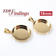 18mm Round Gold Filled Bail Bezel Cup for Pendant Setting