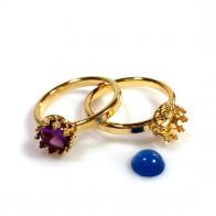 6mm Round Crown Bezel Ring Vermeil on Silver 925