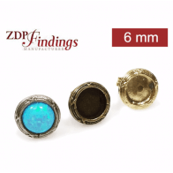 Round 6mm Bezel Post Earrings Fit Cabochon Gem