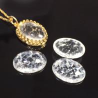 Oval Cabochon Ice Clear Crystal Quartz Gemstone