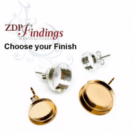 Round 10mm Brass Plated Bezel Earring Post