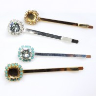 Hair Pin Setting With Rhinestones fit Swarovski ss39