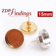 Round 15mm Brass Plated Bezel Earring Post