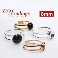 Round 8mm Flat Bezel Setting Adjustable Ring