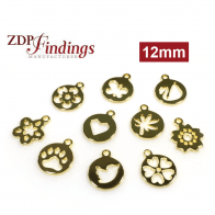 Round 12mm Flower Charm Disc Pendant