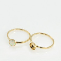 5mm Round Bezel on Ring,  Gold Filled. Choose your size.