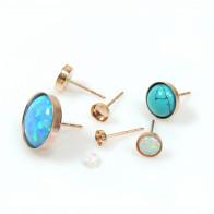 Rose Gold Filled Round Bezel Post Earrings