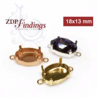18x13mm Oval Bezel Settings Connector Fit Swarovski 4120