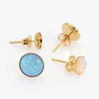 Sterling Silver Gold Vermeil Round Post Earrings
