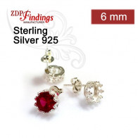 6mm Bezel Post Earring, 925 Sterling silver