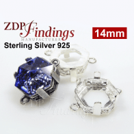 14mm Hexagon Bezel Silver 925 Connector fit Swarovski 4681