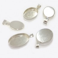 925 Sterling silver Bail Bezel Cup for Pendant Setting