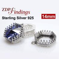 14mm Hexagon Bezel Silver 925 Pendant fit Swarovski 4681