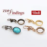 Oval 10x8mm Bezel Dangle Earrings