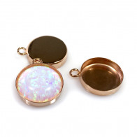 Round 12mm Silver 925 Vermeil Rose Gold Plated Bezel