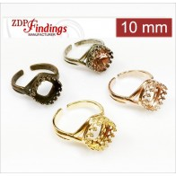 10mm Bezel crowns Ring For Setting Swarovski 4470. Choose your finish