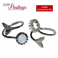 8mm Mermaid Tail Adjustable 925 Silver Ring Base